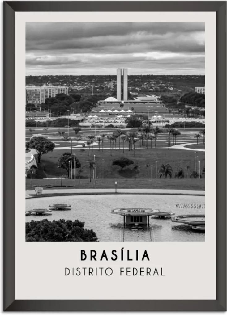 Quadro Oppen House  65x45cm Cidades Brasília Brasil Moldura Preta Sem Vidro - Oppen House Decora