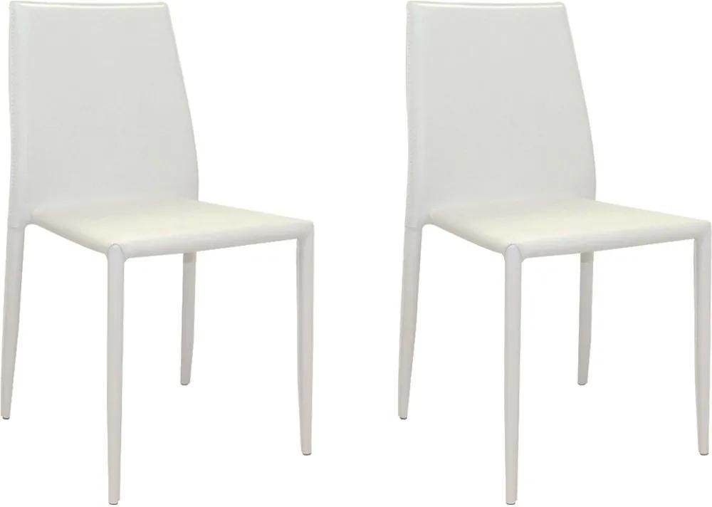 Kit 2 Cadeiras Decorativas Sala e Cozinha Karma PVC Branca - Gran Belo