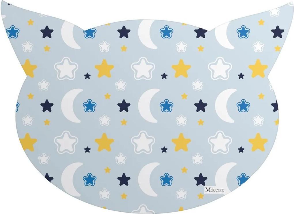 Tapete PET Mdecore Cabeça de Gato Lua Azul54x39cm