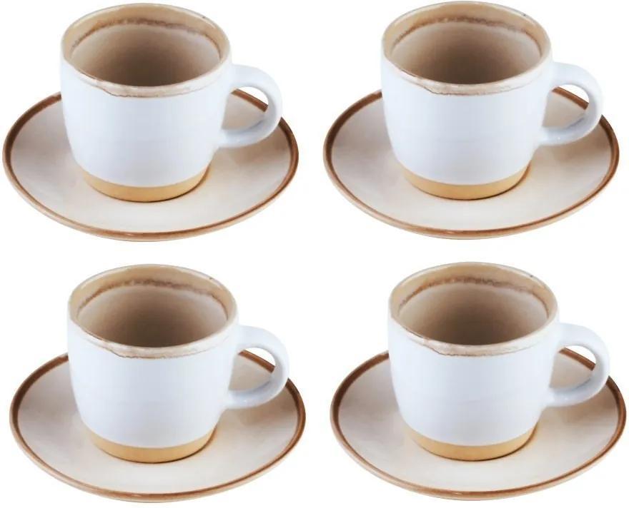 Jogo Xícaras Para Café 4 Peças Cerâmica Com Pires Good Vibes 115ml 27840 Bon Gourmet