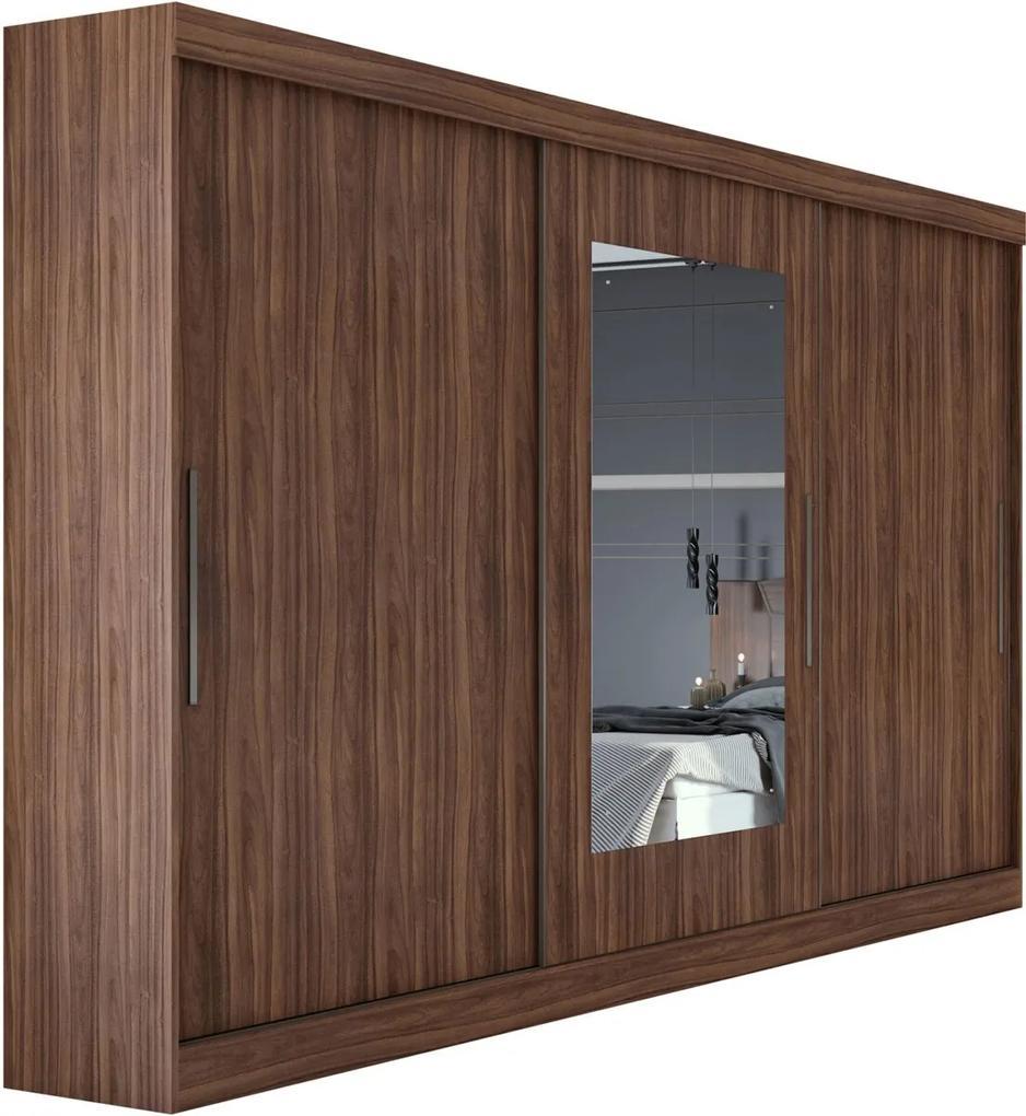 Guarda Roupa Casal com Espelho 3 Portas 4 Gavetas Montebello Marrom