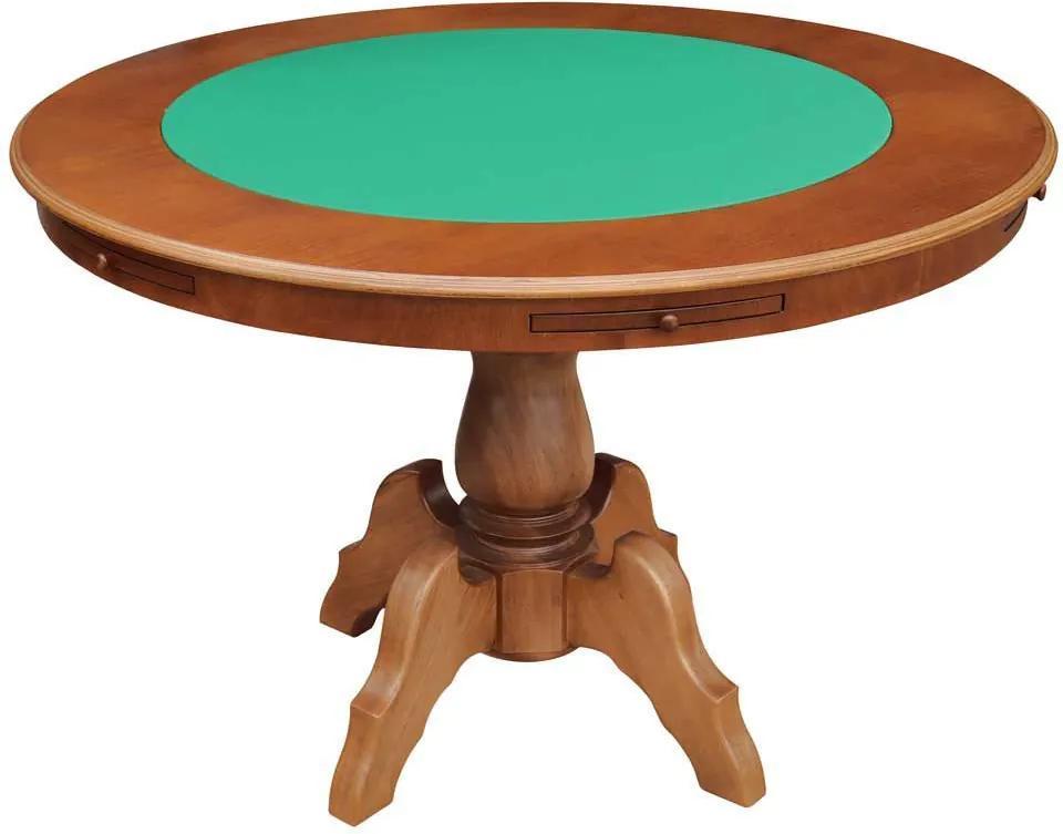 Mesa de Jogos Carteado Redonda Montreal 6 Lugares Tampo Reversível com Gavetas e Porta Copos Amêndoa - Gran Belo
