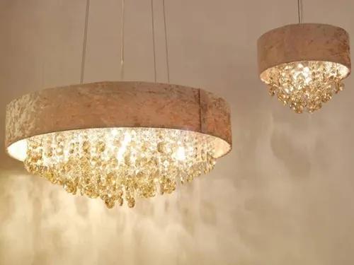Lustre Pande 60cm em Metal, Tecido e Cristal Dourado