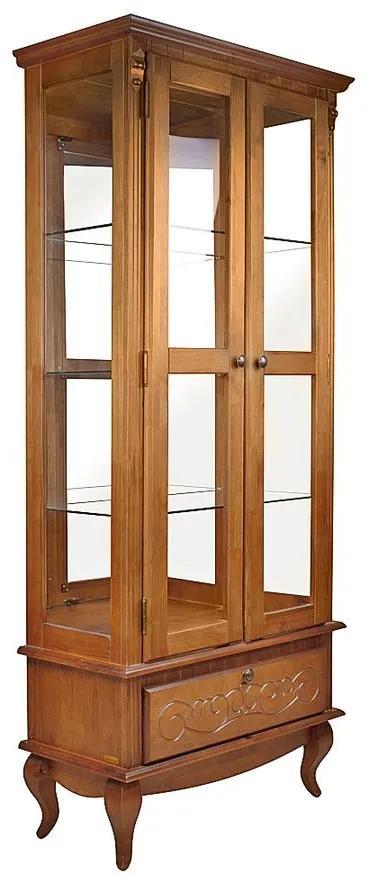Cristaleira Country com Gav Espelho e Prateleiras Laterais de Vidro - Wood Prime TA 29477