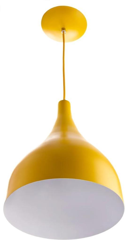 Lustre Pd Gota Media Alumínio 30cm Soquete E-27 Amarelo
