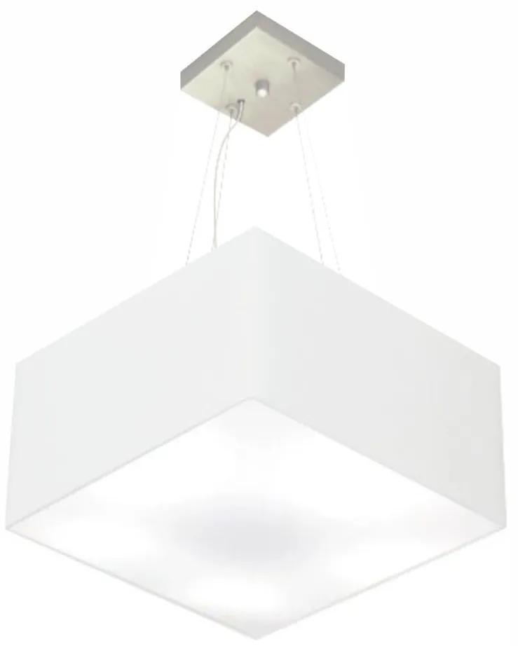 Lustre Pendente Quadrado Vivare Md-4197 Cúpula em Tecido 25/45x45cm - Bivolt - Branco - 110V/220V (Bivolt)