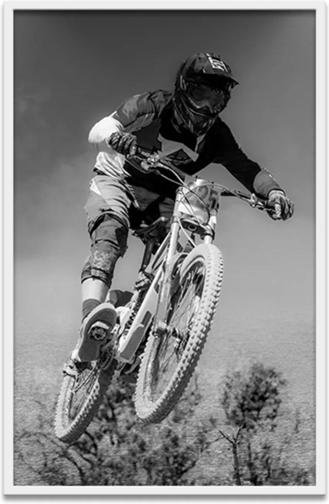 Quadro Oppen House 60X40Cm  Esporte Bicicross Moldura  Branca Com Vidro