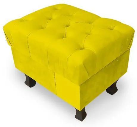 Puff Decorativo Retrô Luis Xv Capitonê Suede Amarelo - Sheep Estofados - Amarelo