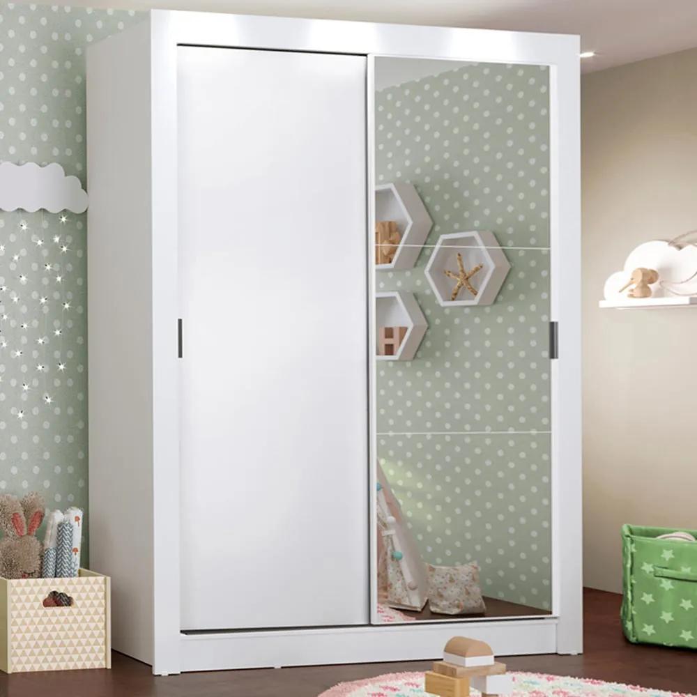 Guarda-Roupa Infantil Madesa Bento 2 Portas de Correr com Espelho 2 Gavetas Branco Cor:Branco