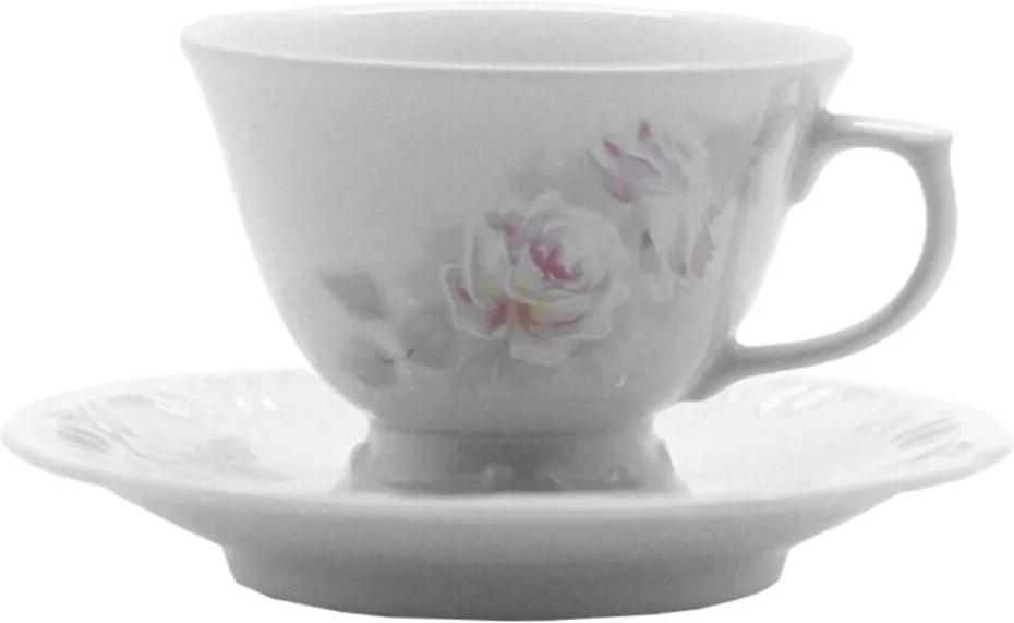 Xícara Chá Com Pires Porcelana Schmidt - Dec. Romântica Pomerode 2° LINHA