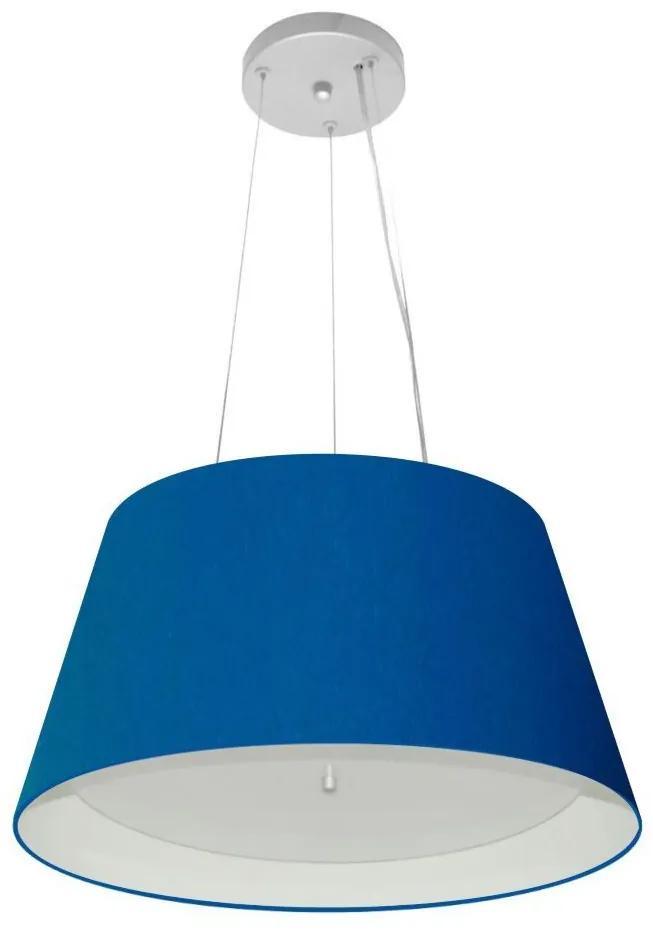 Lustre Pendente Cone Md-4119 Cúpula Forrada em Tecido 21/40x30cm Azul Marinho / Branco - Bivolt