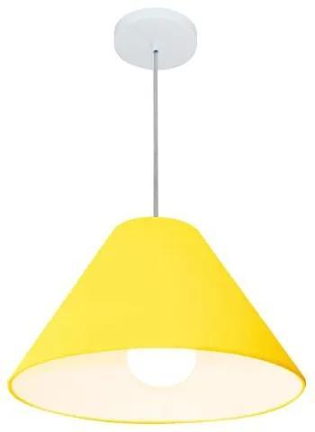 Lustre Pendente Cone Vivare Md-4078 Cúpula em Tecido 25/40x15cm - Bivolt - Amarelo - 110V/220V (Bivolt)