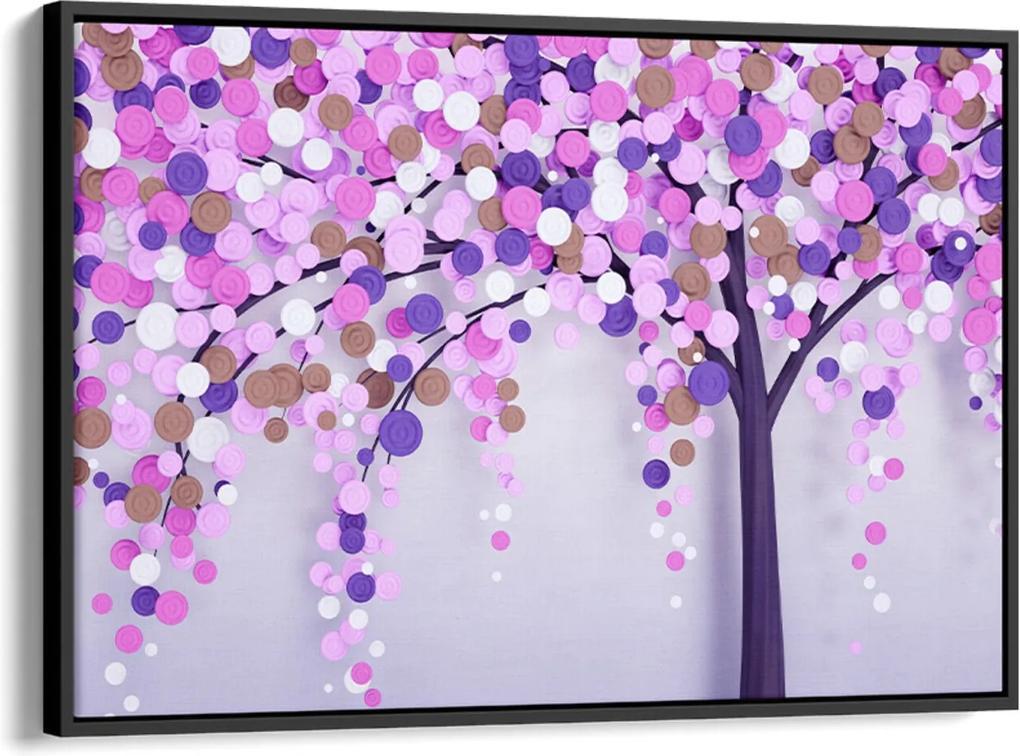 Quadro 60x90cm Abstrato Árvore com Pétalas Rosa e Lilás Canvas Moldura Flutuante Preta