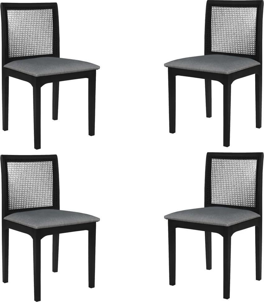 Kit 4 Cadeira Decorativa Sala de Jantar Steve Ébano - Gran Belo