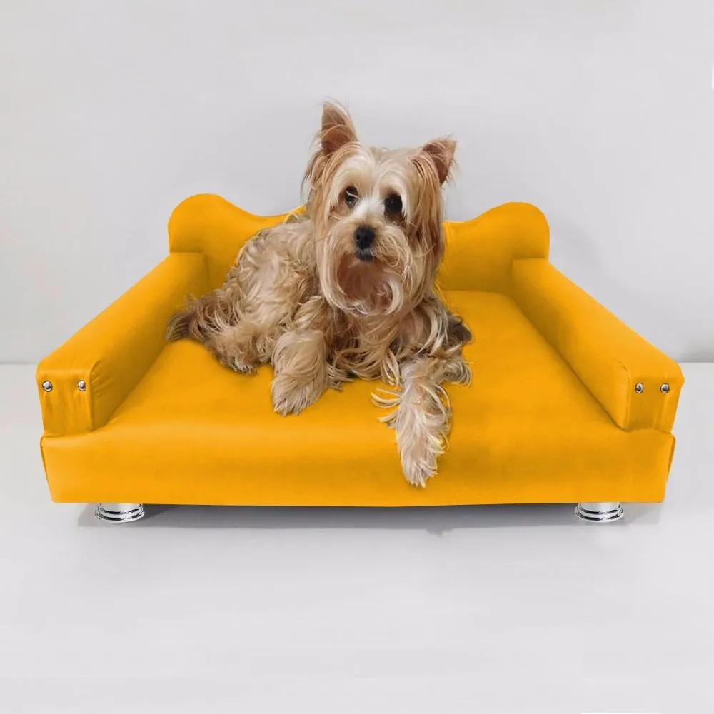 Cama Sofá Pet Meg Para Cães E Gatos Elegante e confortável Courino Amarelo