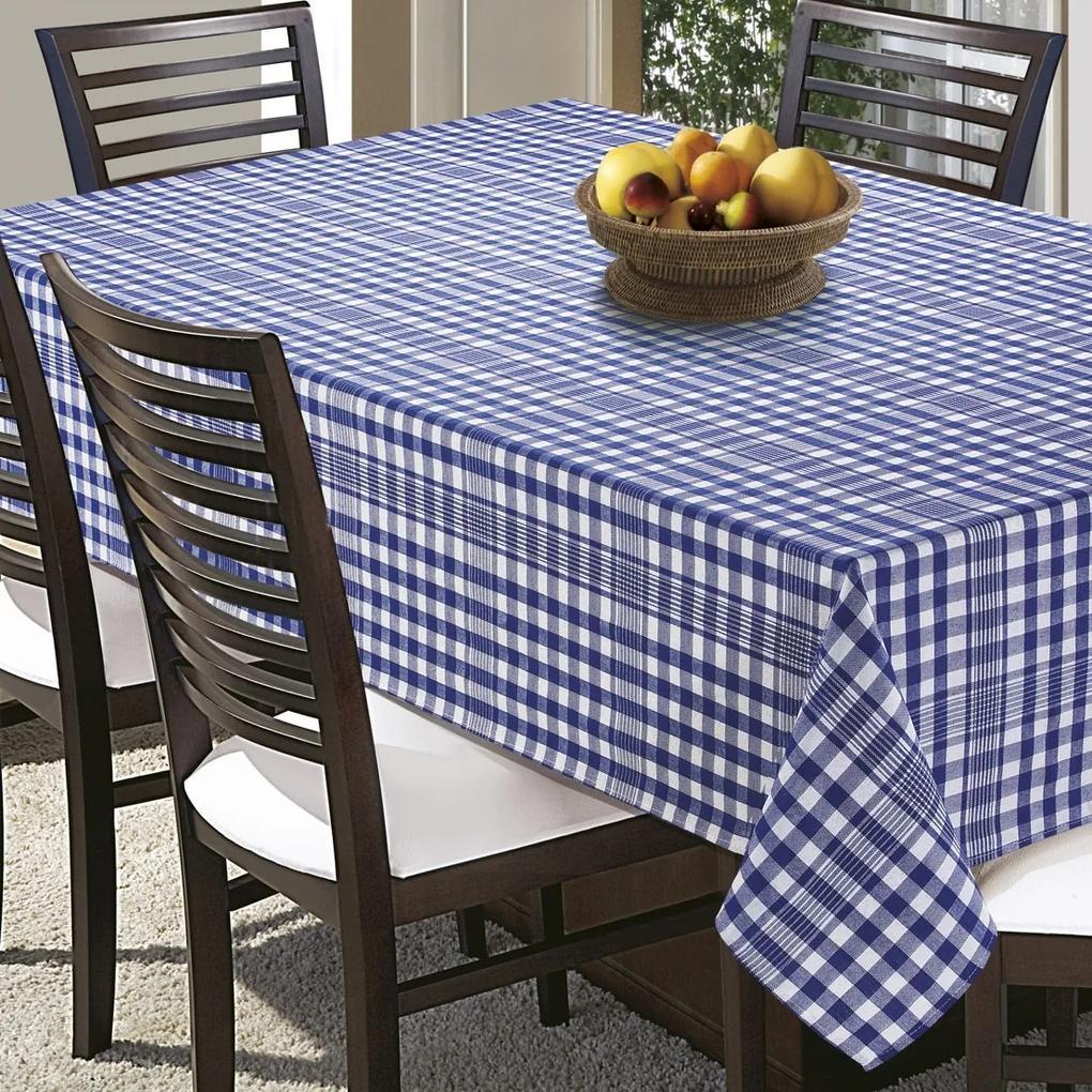 Toalha de Mesa Quadrada 4 Lugares Prática Xadrez Azul