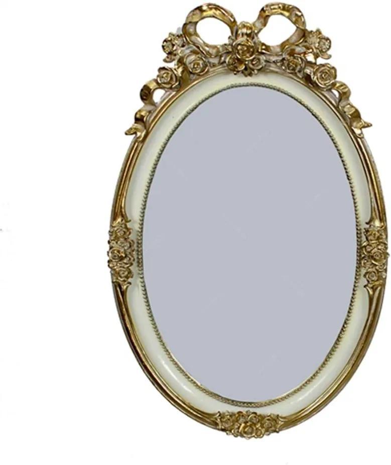 Espelho Luxo Laço Oval Dourado em Resina - 33x21 cm