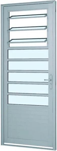 Porta de Abrir com Báscula e Lambri Horizontal Alumifort Branco 216X88X5,4cm Esquerda -76162018 - Sasazaki - Sasazaki