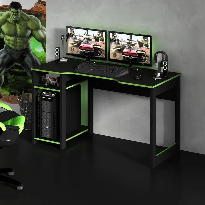 Mesa Gamer Escrivaninha Tecno Reversível Preto Verde