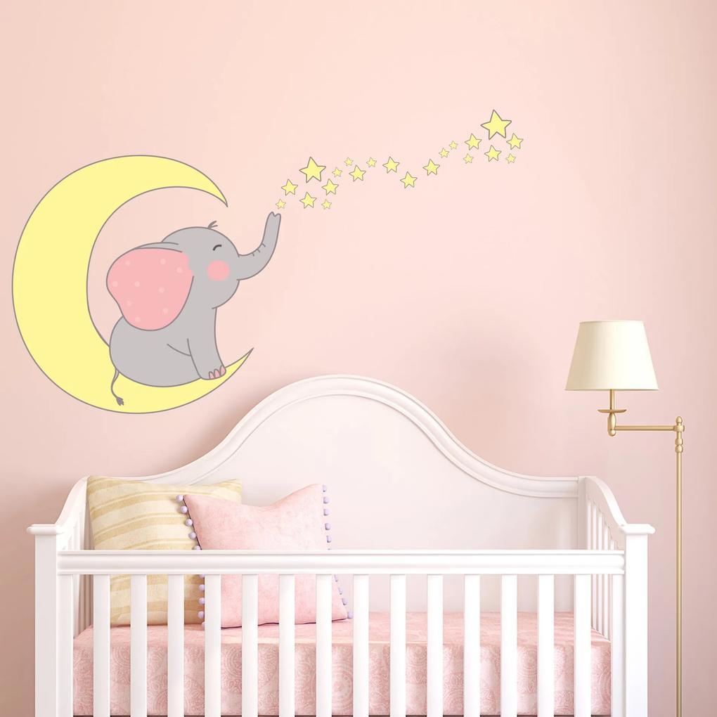 Adesivo de Parede Infantil Elefante com Estrelas