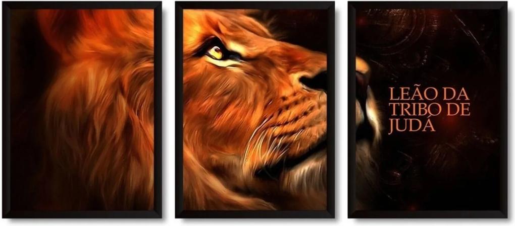 Quadros 3 Decorativos Com Moldura Leão da Tribo de Judá