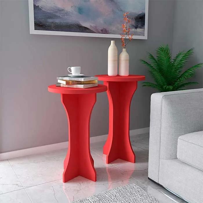Conjunto de Mesas de Canto Kerpen 100% MDF 39cm Vermelho