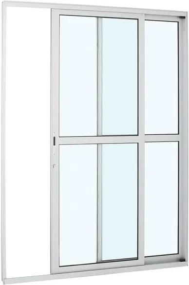 Porta de Alumínio de Correr Alumifort Branca com Divisão Central 2 Folhas Abertura Direita 216x160x8,7 - Sasazaki - Sasazaki