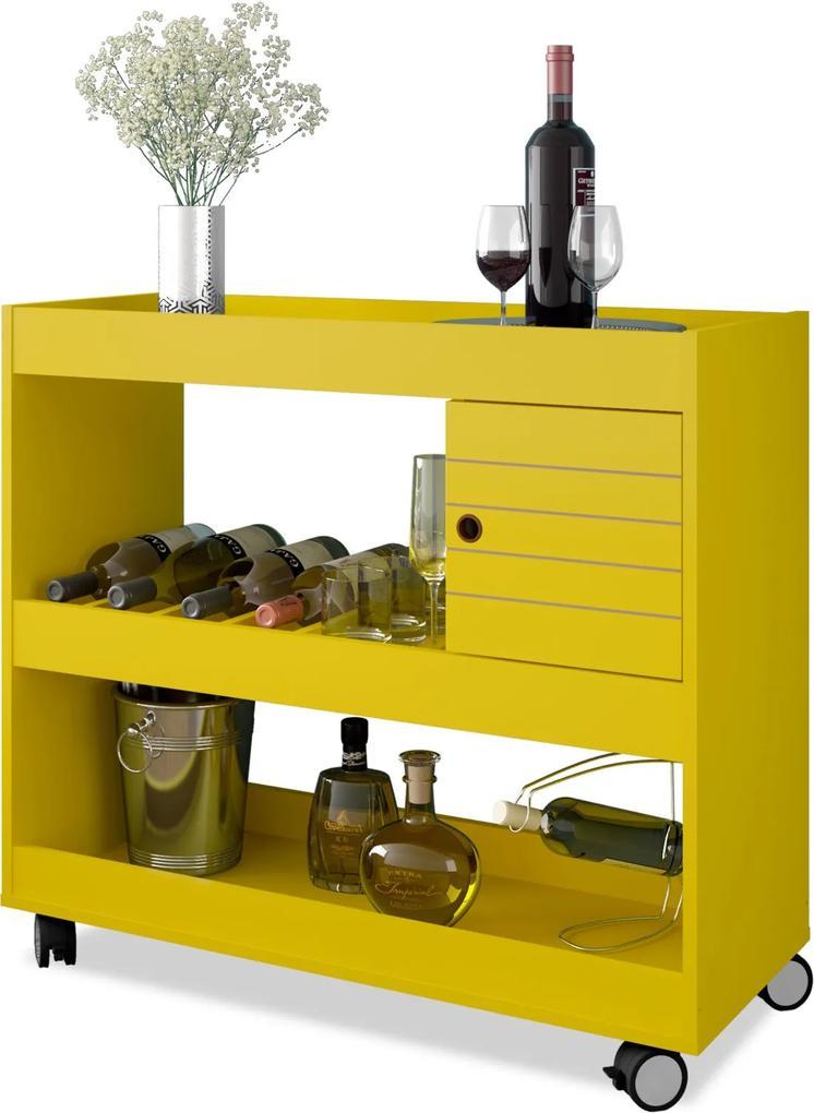 Aparador e Bar Cristal Amarelo Móveis Bechara