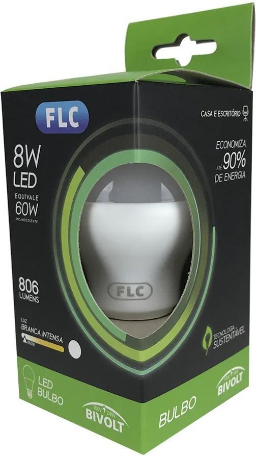 Lâmpada de Led Bulbo 8W 6500K - FLC - Bivolt