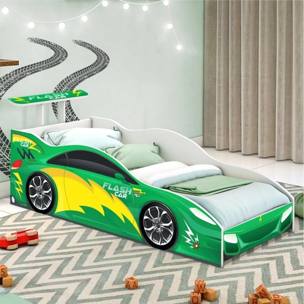 Cama Carro Infantil Verde com Colchão CASAH