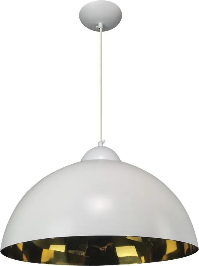 Pendente Esfera 40cm Branco Fosco/Ouro - Caisma - 3714-BRF/OU