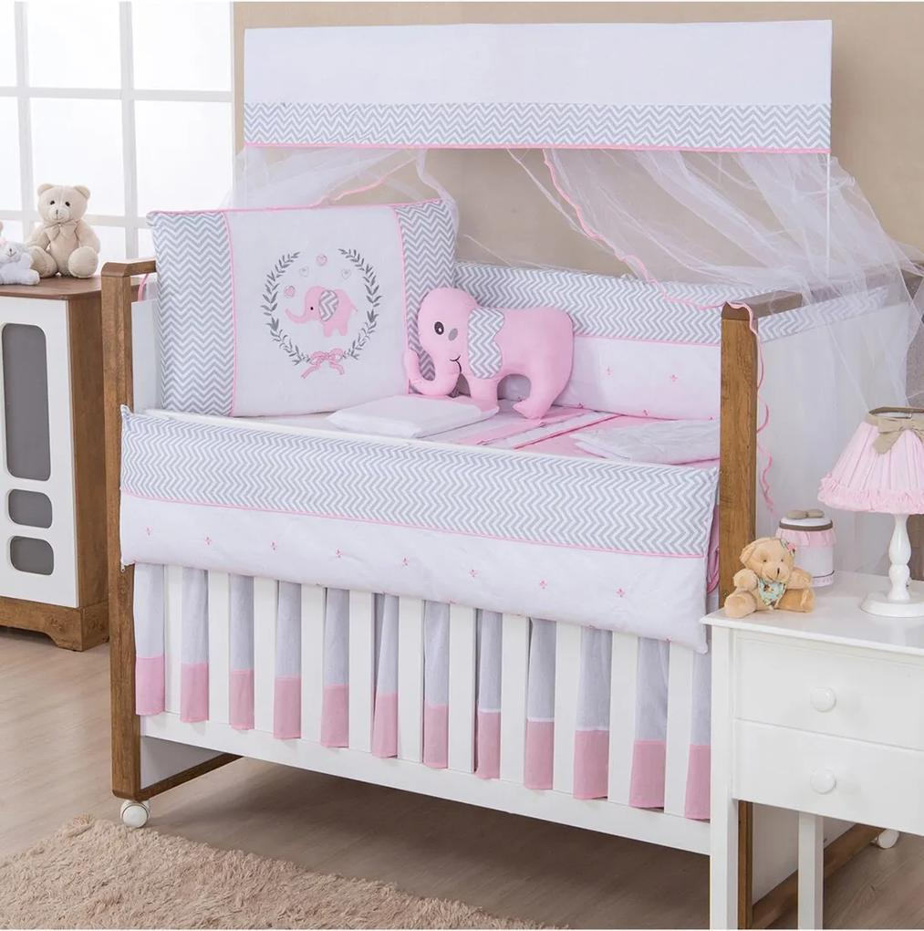 Kit Berço Padroeira Baby Elefante Rosa 10 Peças