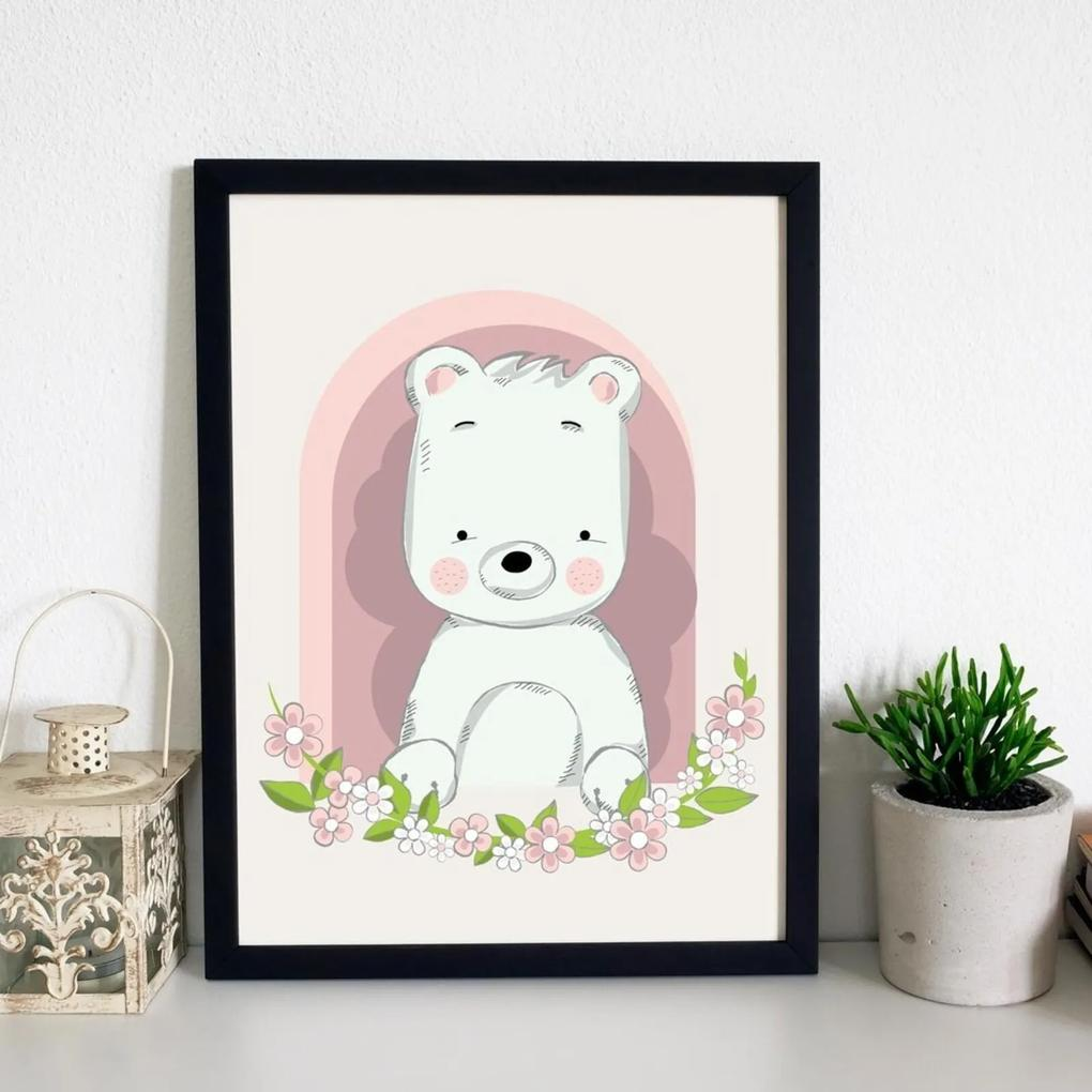 Quadro Decorativo Infantil Urso Baby Preto - 20x25cm