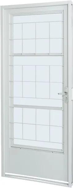 Porta Social de Aço de Abrir Prátika Branca com Postigo Grade Quadriculada 1 Folha Abertura Esquerda 217x87x8 - Sasazaki - Sasazaki