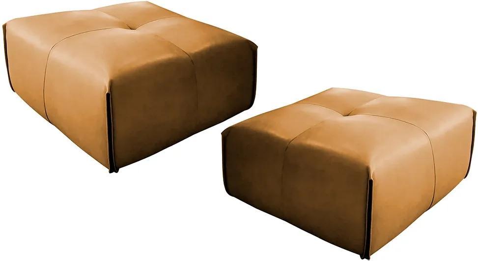 Kit 2 Puff Decorativo Sala de Estar Frances Confort Couro Caramelo - Gran Belo