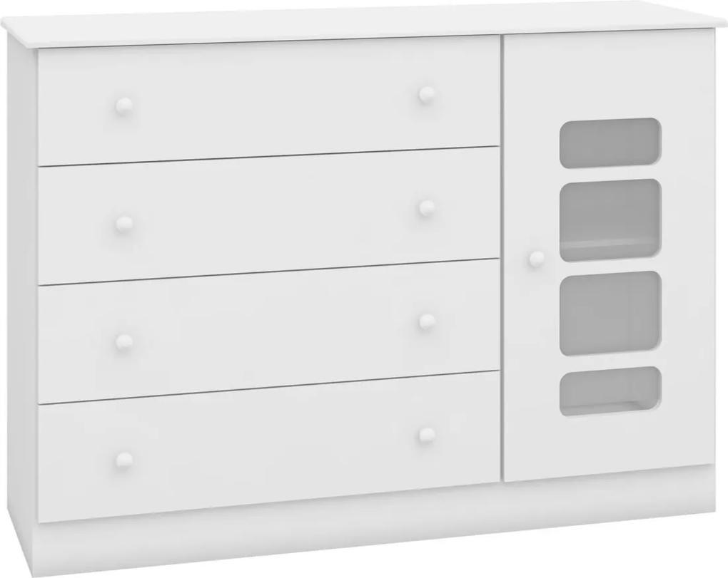 Cômoda Lis 4 Gavetas 1 porta Branco Alto Brilho Móveis CanaÁ