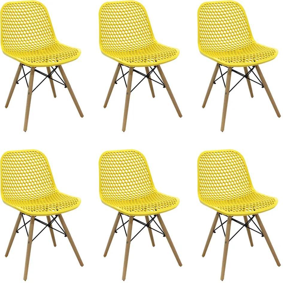 Kit 6 Cadeiras Decorativas Sala e Cozinha Haney (PP) Amarela - Gran Belo