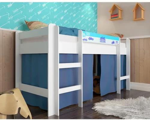 Cama Infantil Alta com Cortina Azul - Branco
