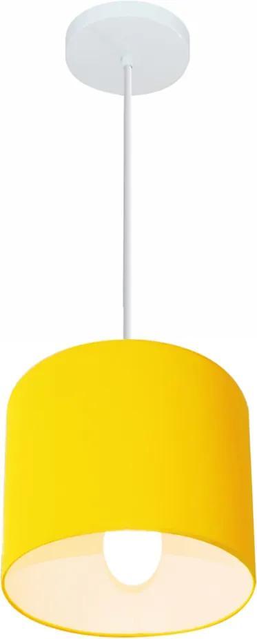 Lustre Pendente Cilíndrico Md-4046 Cúpula em Tecido 18x18cm Amarelo - Bivolt
