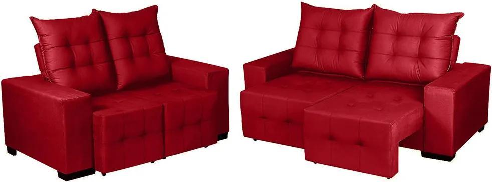 Conjunto De Sofá Retrátil E Reclinável Maximus 5 Lugares Tecido Suede Vermelho - Moveis Marfim