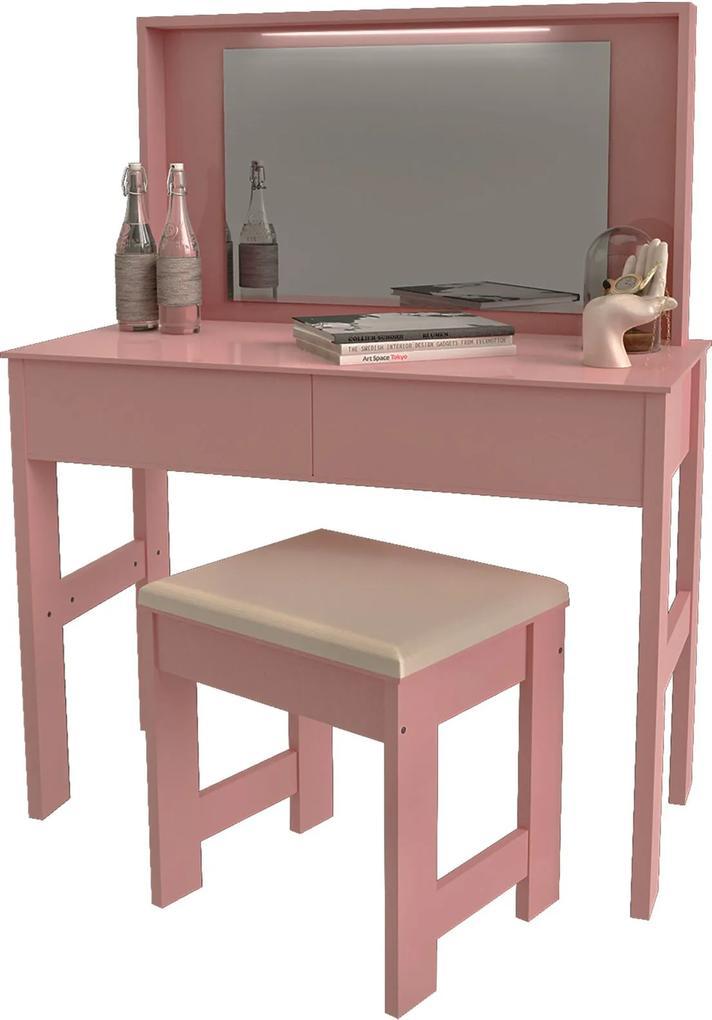 Penteadeira 7500 Luxo Rose Brilho Móveis JB Bechara Rosa