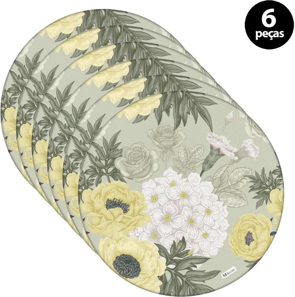 Sousplat Mdecore Floral 35x35cm Verde2pçs