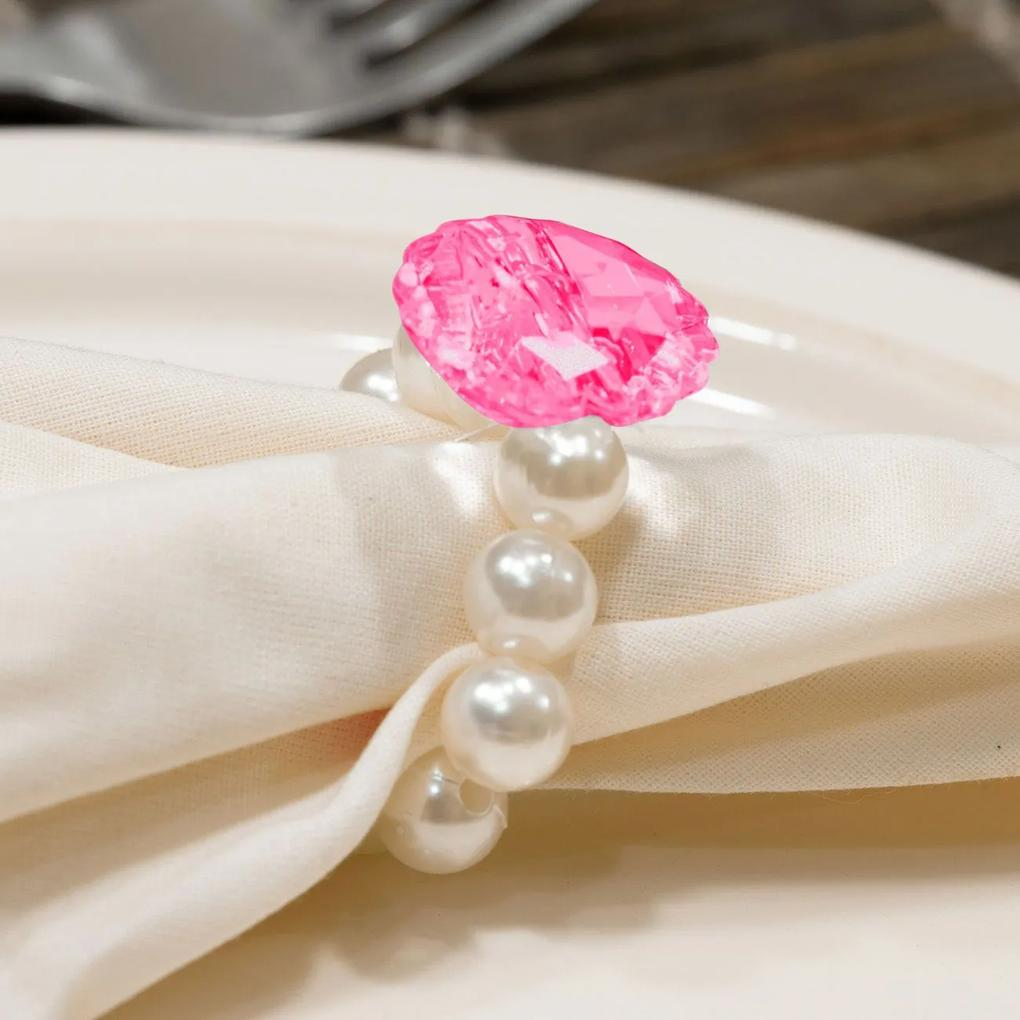 Kit 6 Peças Abraçadeira Prendedor Porta Guardanapo Pérola Pingente Cristal Pink para Mesa de 6 Lugares