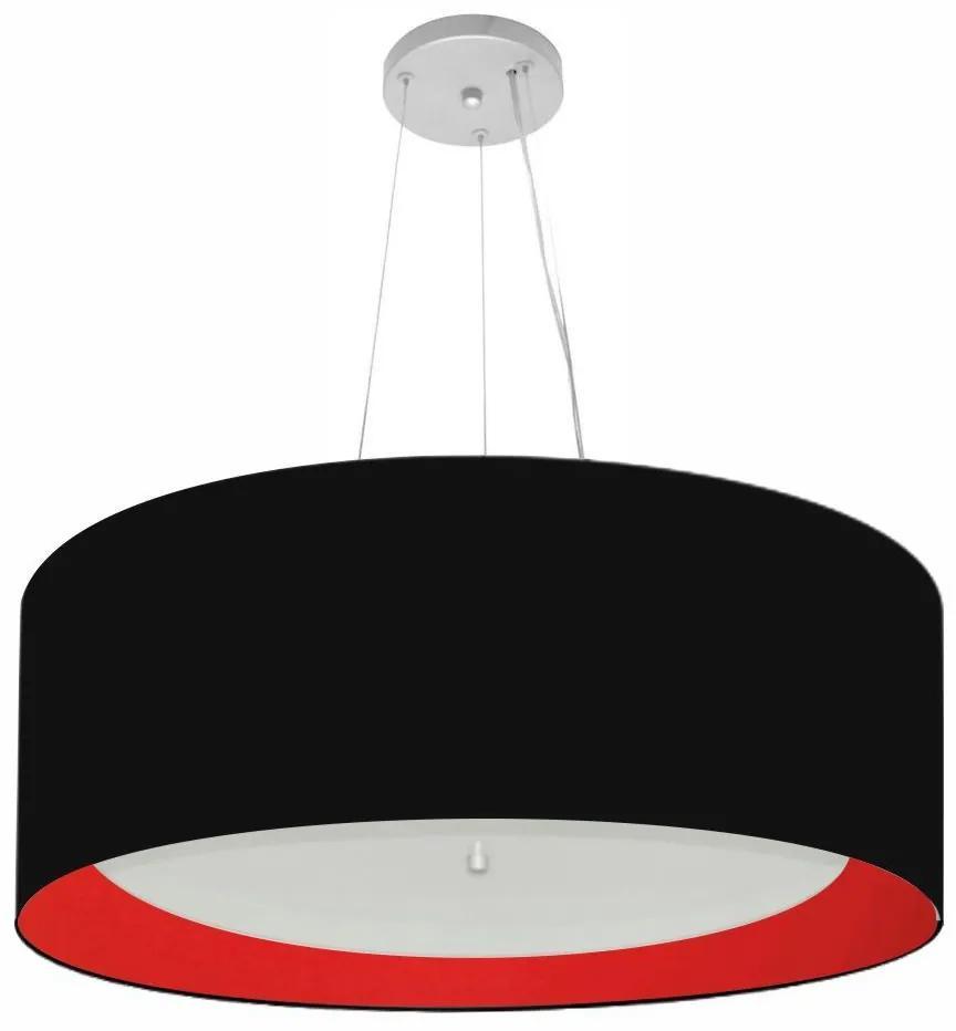 Lustre Pendente Cilíndrico Md-4142 Cúpula Forrada em Tecido 80x30cm Preto / Vermelho - Bivolt