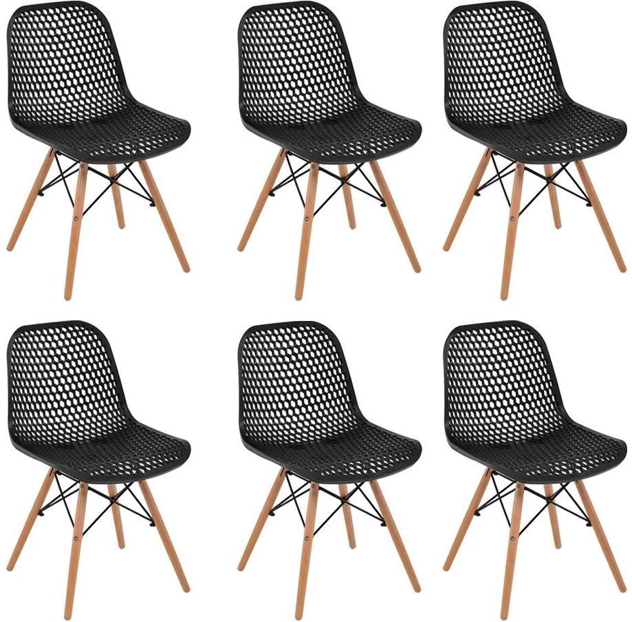 Kit 6 Cadeiras Decorativas Sala e Cozinha Haney (PP) Preta   - Gran Belo