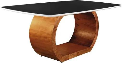 Mesa de Jantar 6 Lugares de Madeira Imbuia/Branco com Tampo de Vidro Preto 2,00m Sirkel