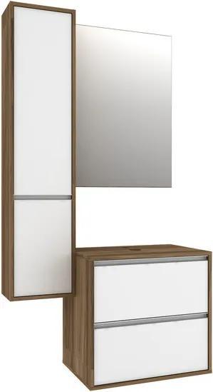 Conjunto para Banheiro Espelheira com Armário e Gabinete com Cuba Firenze 90cm 59120.4601 Nogal/Branco - Móveis Bosi