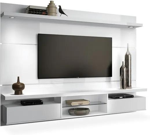 Painel para TV até 60 polegadas 2.20m com LED, Branco Brilho, Livia