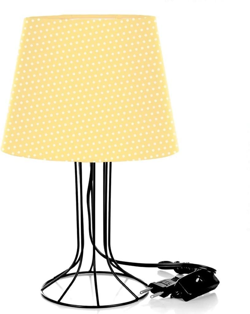 Abajur Torre Dome Amarelo/bolinha Com Aramado Preto