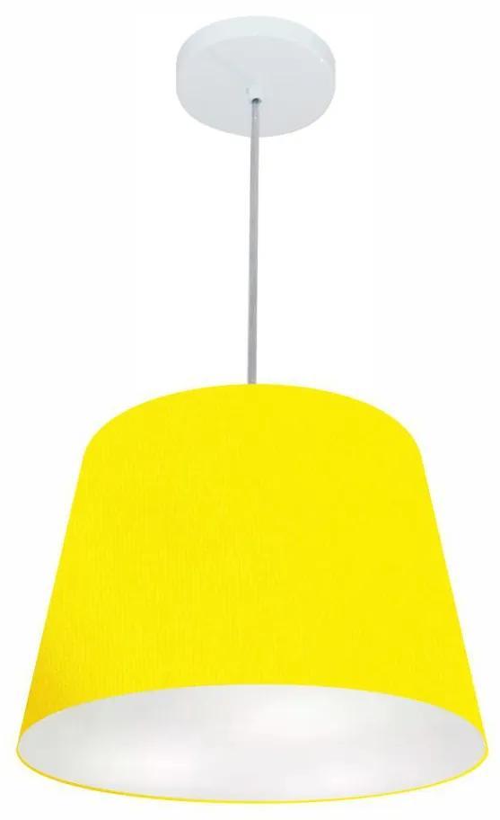 Lustre Pendente Cone Vivare Md-4155 Cúpula em Tecido 30/40x30cm - Bivolt - Amarelo - 110V/220V (Bivolt)